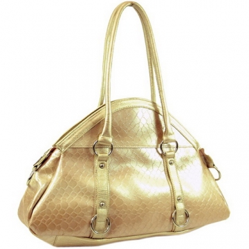 Dasein Patent Leatherette Snake Skin Embossed Shoulder Bag-Beige
