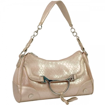 Dasein Fashion Patent Leatherette Snake Skin Embossed Shoulder Bag-Beige