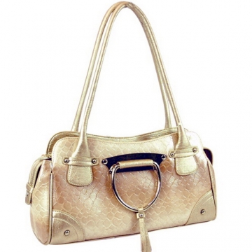 Dasein Patent Leatherette Shoulder Bag-Beige