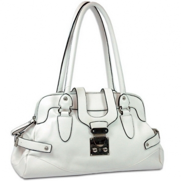 Dasein Front Flap with Buckle Fashion Shoulder Bag-White