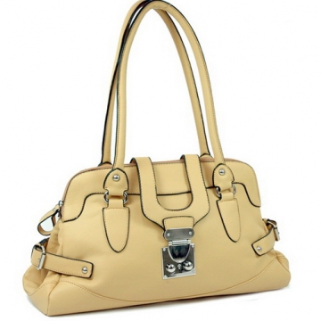 Dasein Front Flap with Buckle Fashion Shoulder Bag-Tan