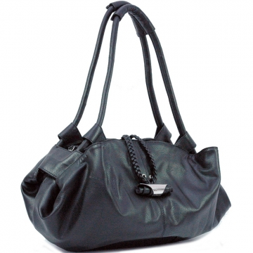 Dasein Soft Zip Top Shoulder Bag-Black
