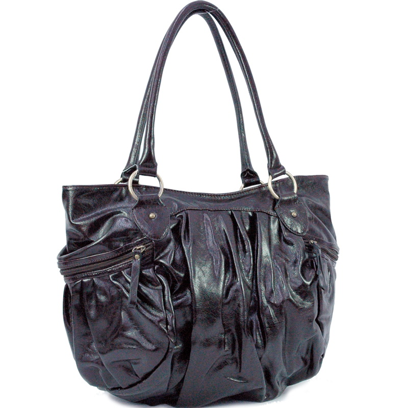 Dasein Pleated Side Zippered Pocket Decorated Tote Bag - Black