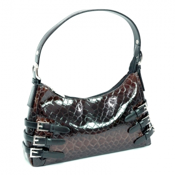 Dasein Snake Skin Embossed Purse with Buckle Accent-Black