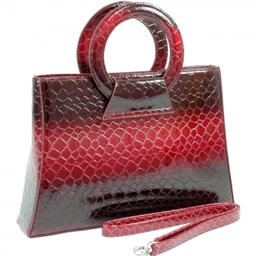 Dasein Fashion Snake Skin Embossed Purse-Red