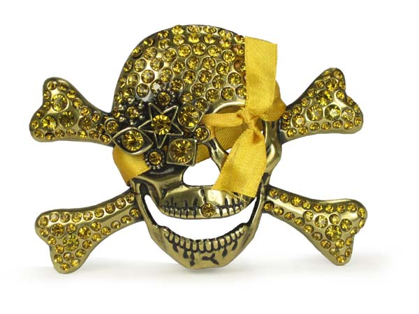 Rhinestone Skull and Crossbones Belt Buckle - Light Amber