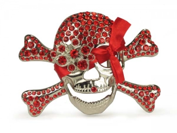 Rhinestone skull and crossbones belt buckle Sian