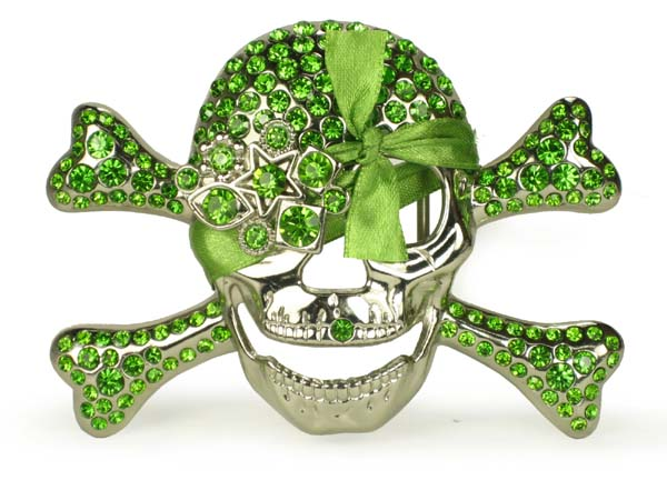Rhinestone Skull and Crossbones Belt Buckle - Green