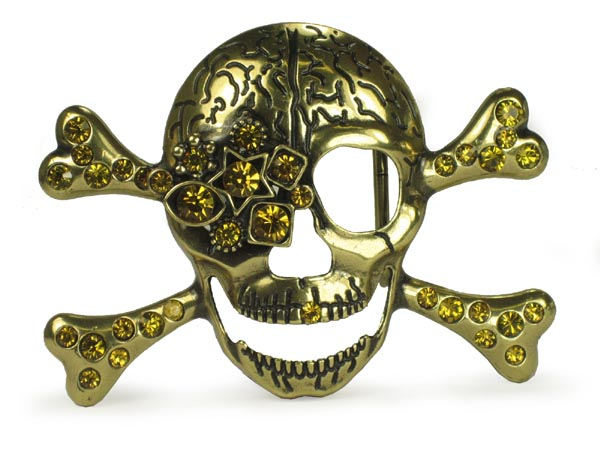 Rhinestone Skull and Crossbones Belt Buckle - Gold
