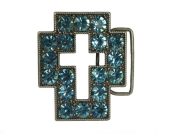 Rhinestone cut-out cross sign belt buckle Clear