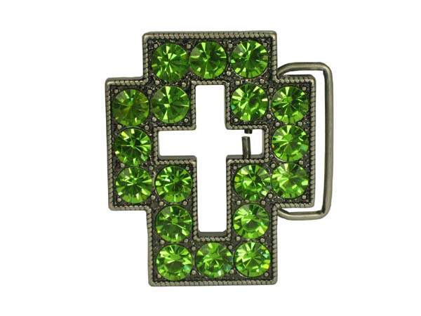 Rhinestone Cut-Out Cross Sign Belt Buckle - Livine