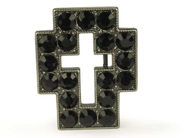 Rhinestone cross sign belt buckle