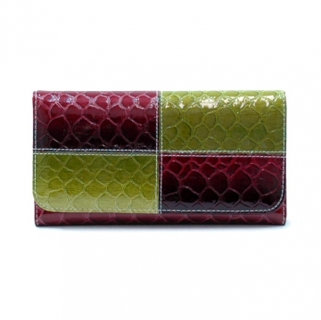 Snake skin embossed, fold over checkbook wallet