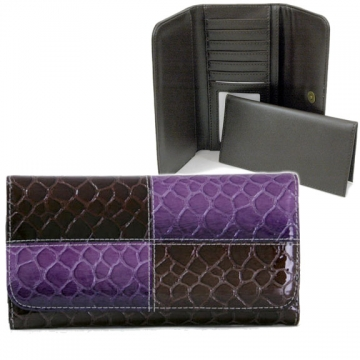 Snake skin embossed, fold over checkbook wallet Purple