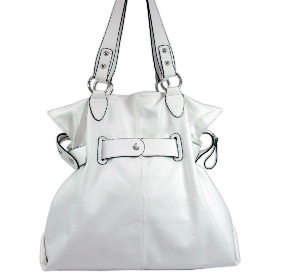 Belted soft fashion tote bag