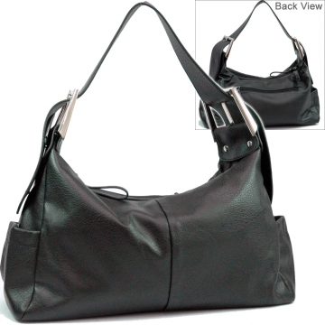 Dasein Classic Soft Hobo Bag with Buck Accent-Black