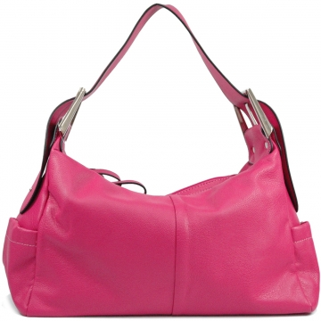 Dasein Classic Soft Hobo Bag with Buck Accent-Fuchsia