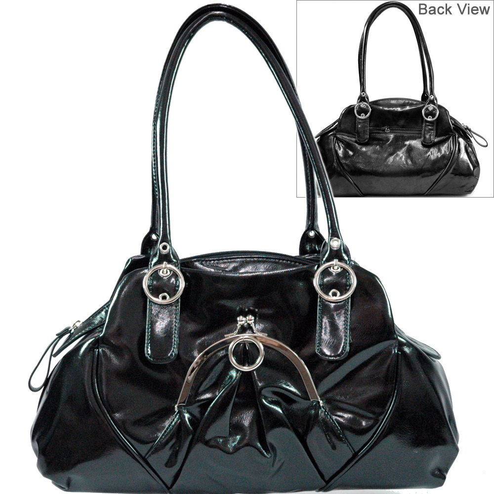 Dasein Front Kiss Lock Pocket Shoulder Bag - Black