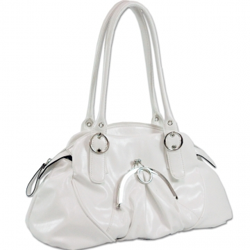Dasein Front Kiss Lock Pocket Shoulder Bag-White
