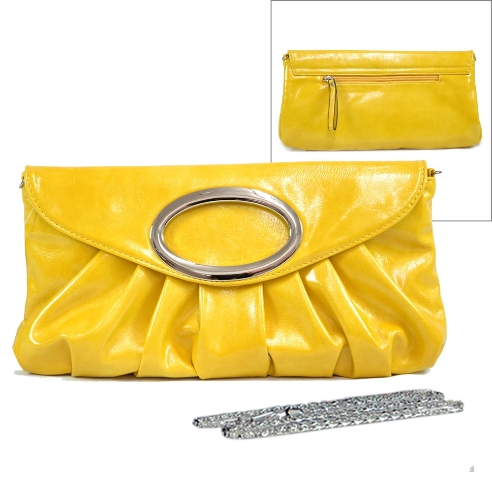 Pleated Ring Flap Evening Bag