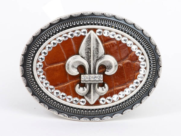 Dasein Rhinestone Fleur de Lis with Croco Print Leather Belt Buckle - Brown