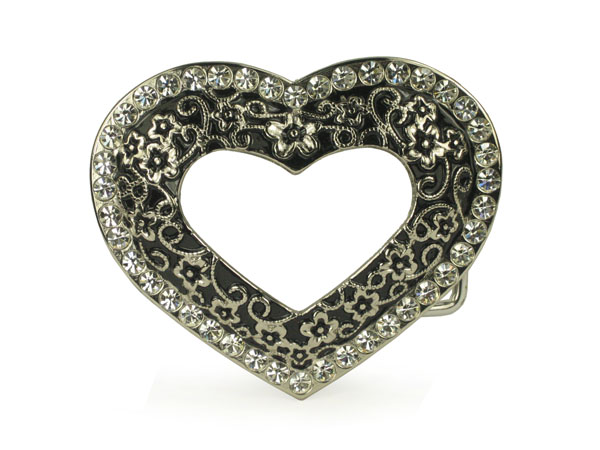 Rhinestone heart/floral cut-out belt buckle