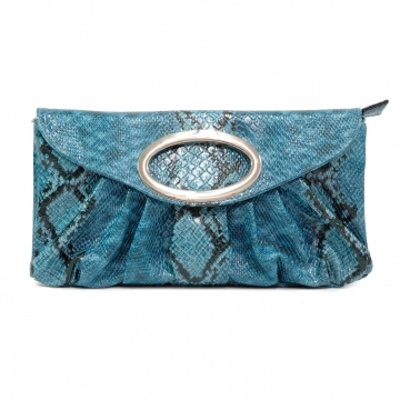 Python Embossed Clutch Blue