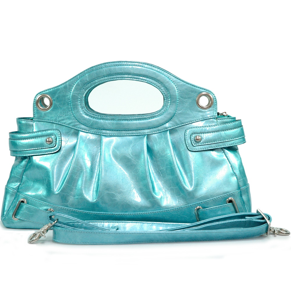 Dasein Shiny Designer Inspired Pleated Satchel Bag with Detachable Shoulder Strap - Blue