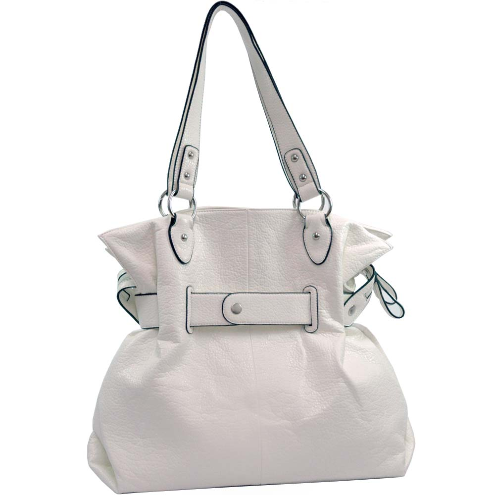 Dasein Belted Soft Fashion Tote Bag - White