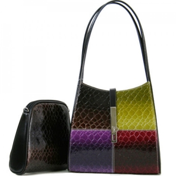 Dasein Cute Patent Leatherette Snake Skin Embossed 2-in-1 Shoulder Bag-Multi Color