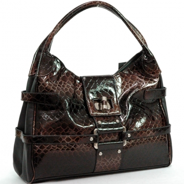 Snake Skin Embossed Shoulder Bag