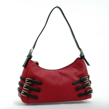 Dasein Soft Fashion Shoulder Bag with Belt Accent-Burgundy red