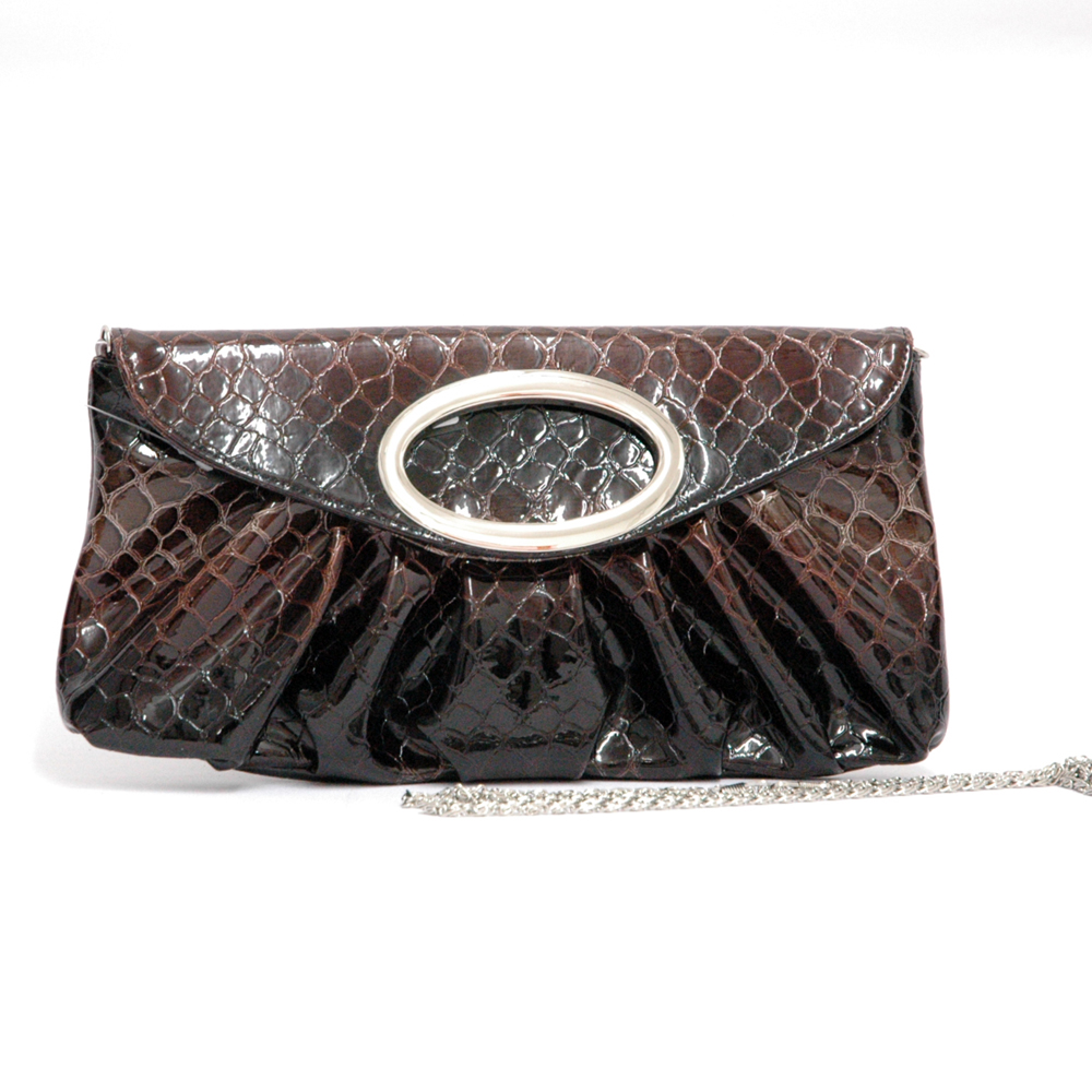 Dasein® Snakeskin Ring Flap Clutch