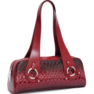 Dasein Alligator Skin Embossed Shoulder Bag-Red