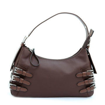 Dasein Soft Fashion Shoulder Bag with Belt Accent-Coffee