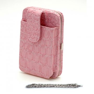 Croco Cellphone ipod iphone holder wallet chain pink