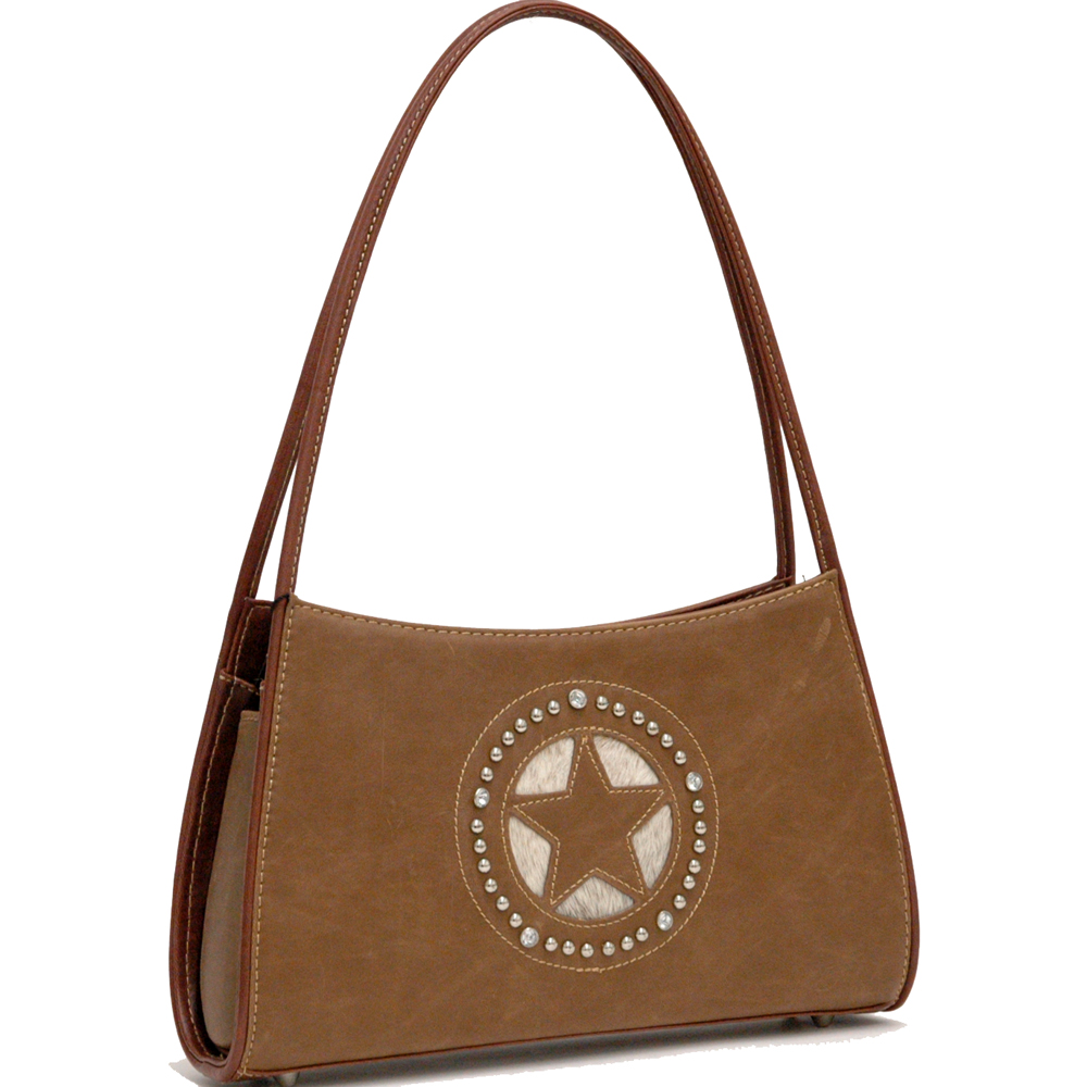 Country Road Star and Rhinestone Studs Decorated Shoulder Bag - Brown