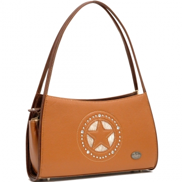 Country Road Fashion Shoulder Bag with Star and Rhinestone Studs Decoration-Brown