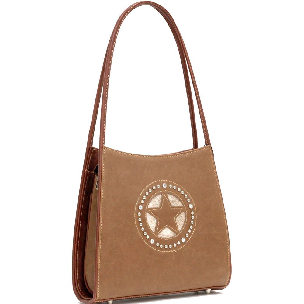 Countyr Road Fashion Shoulder Bag with Star and Rhinestone Accent-Coffee