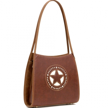 Countyr Road Fashion Shoulder Bag with Star and Rhinestone Accent-Brown
