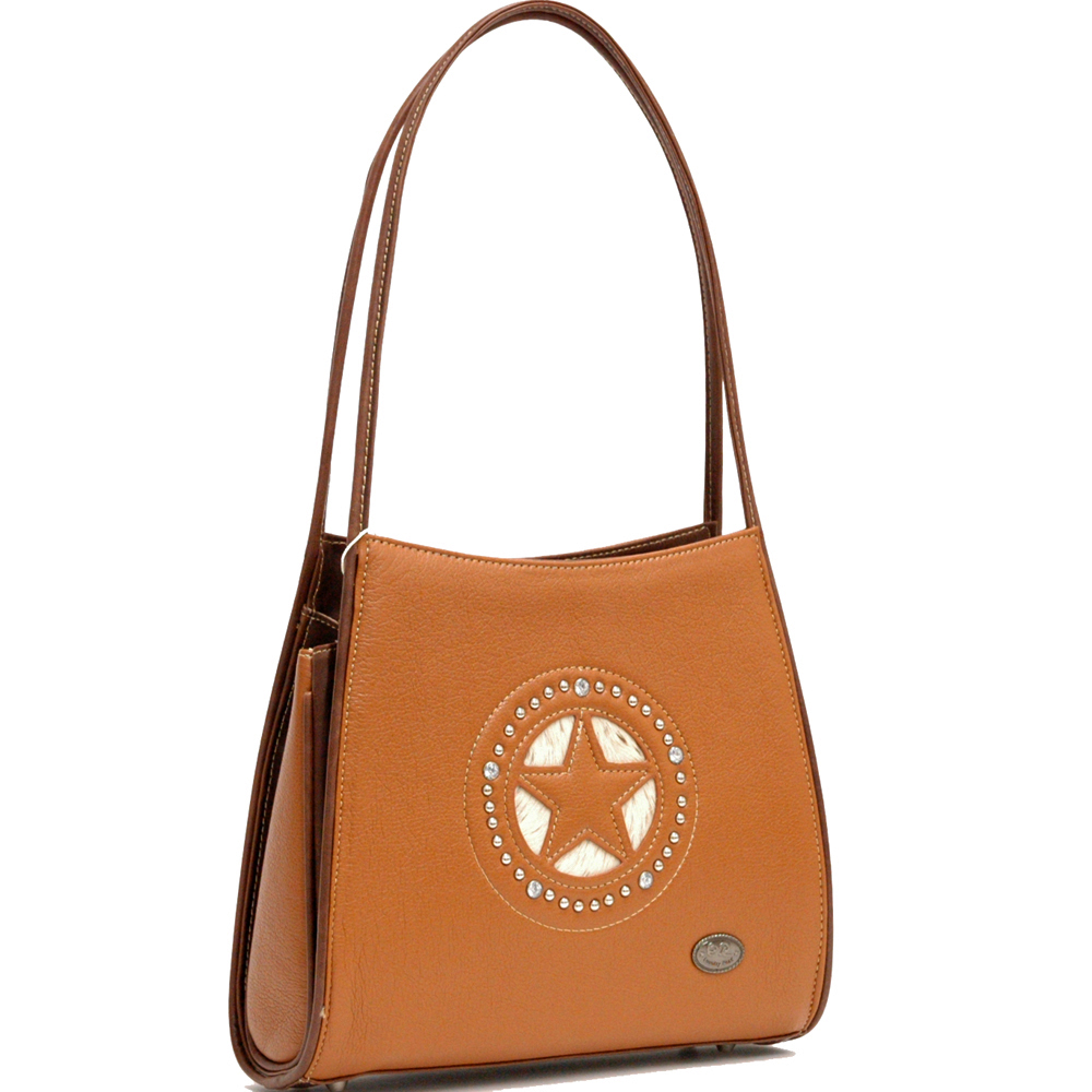 Country Road Star and Rhinestone Studs Decorated Shoulder Bag - Light Brown