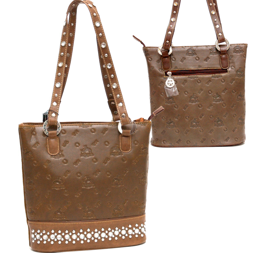 Rhinstone & studs decorated bucket bag