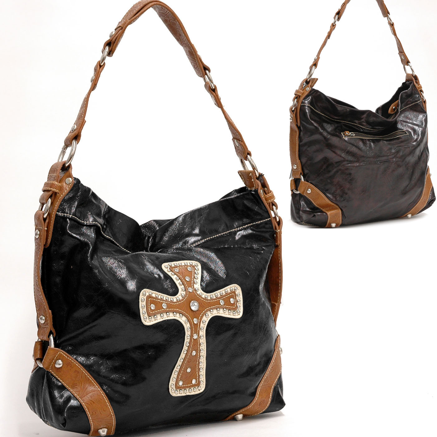 Hobo Bag With Rhinestone Studs