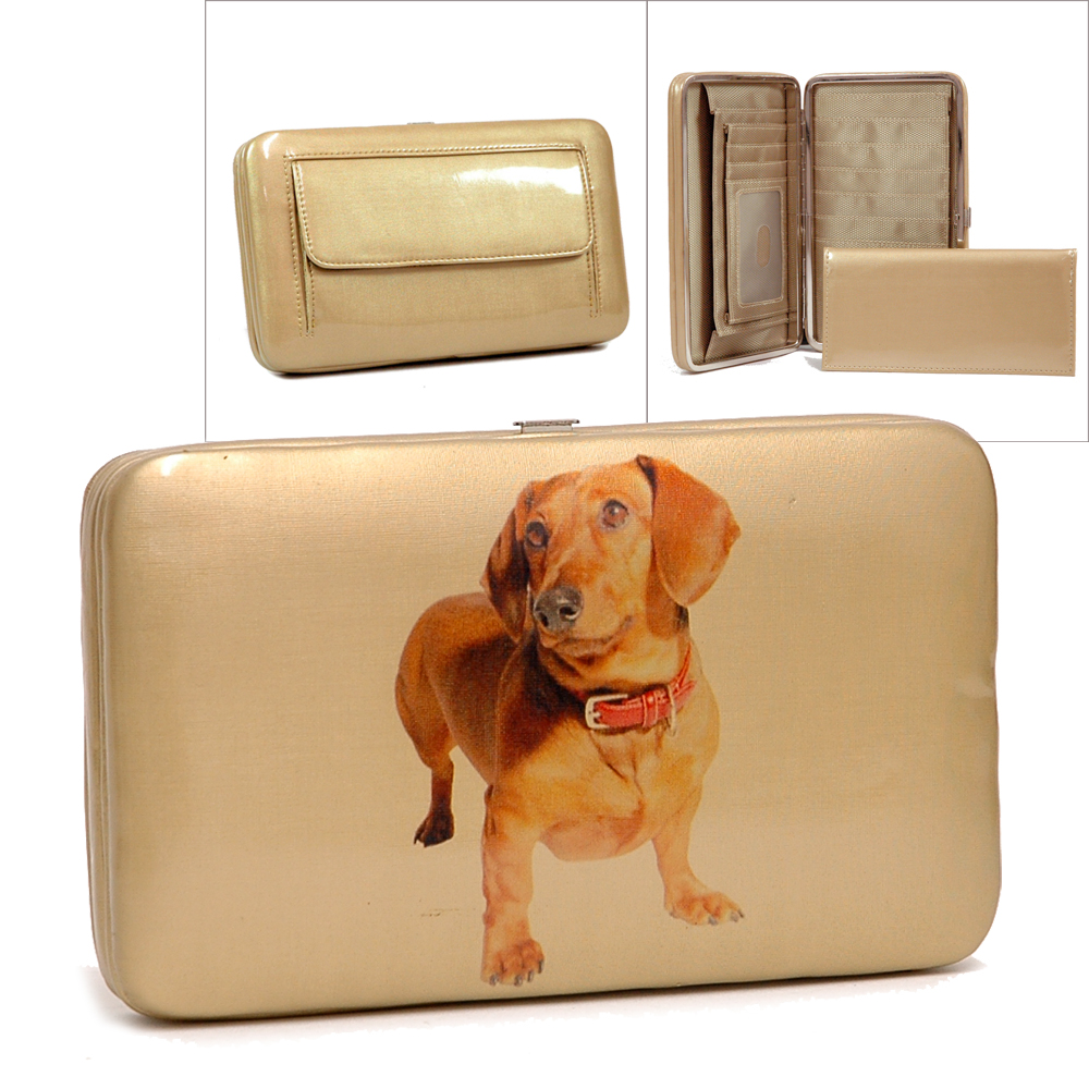 Country Road Extra Deep Frame Wallet with Daschund Dog Print-Tan