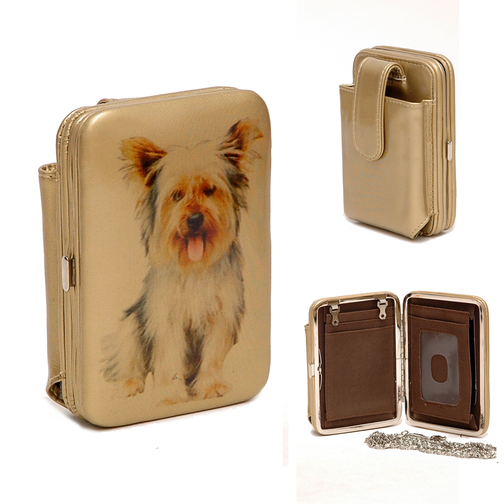 Country Road Dog Puppy Dachshund Cellphone / Phone Case Frame Wallet - Tan/Gold