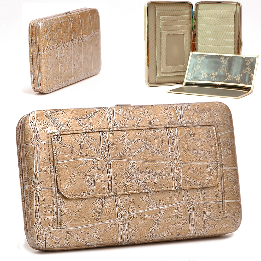Alligator Skin Embossed Extra Deep Metal Frame Wallet