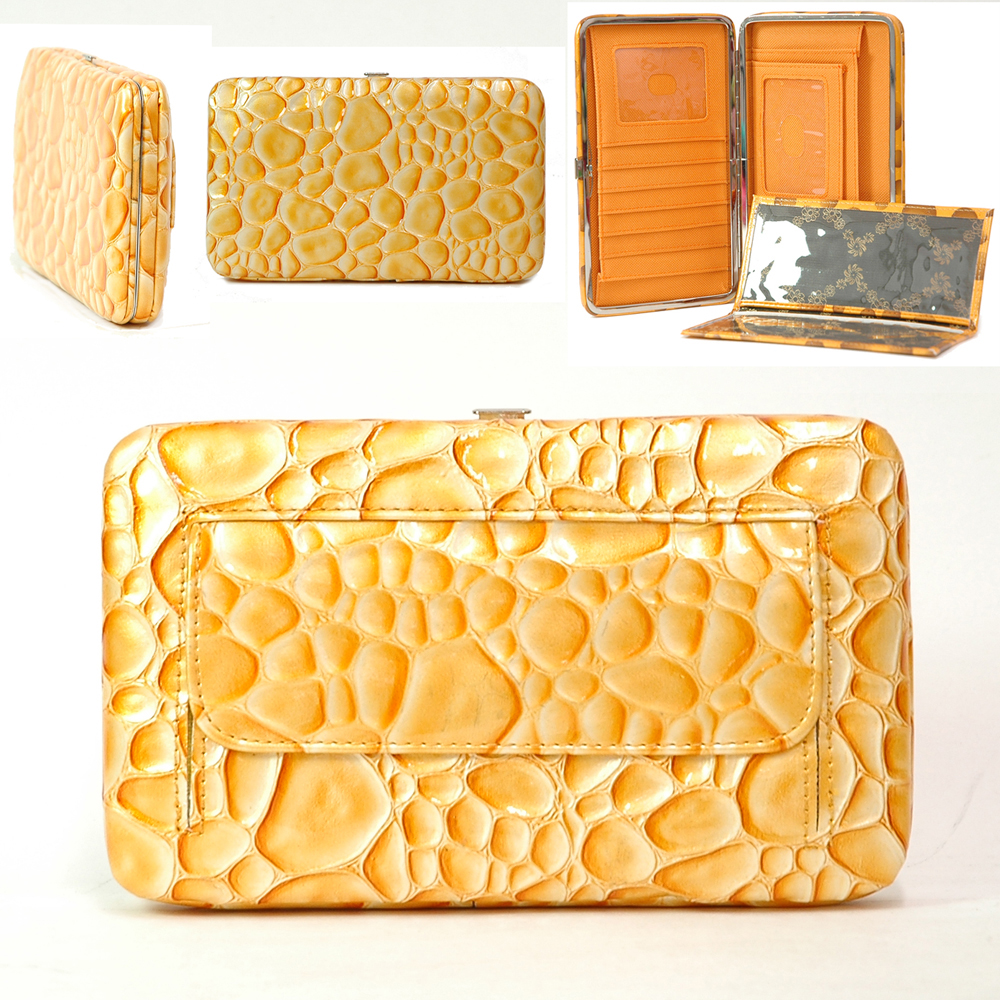 Country Road Texture Embossed Extra Deep Metal Checkbook Frame Wallet - Yellow