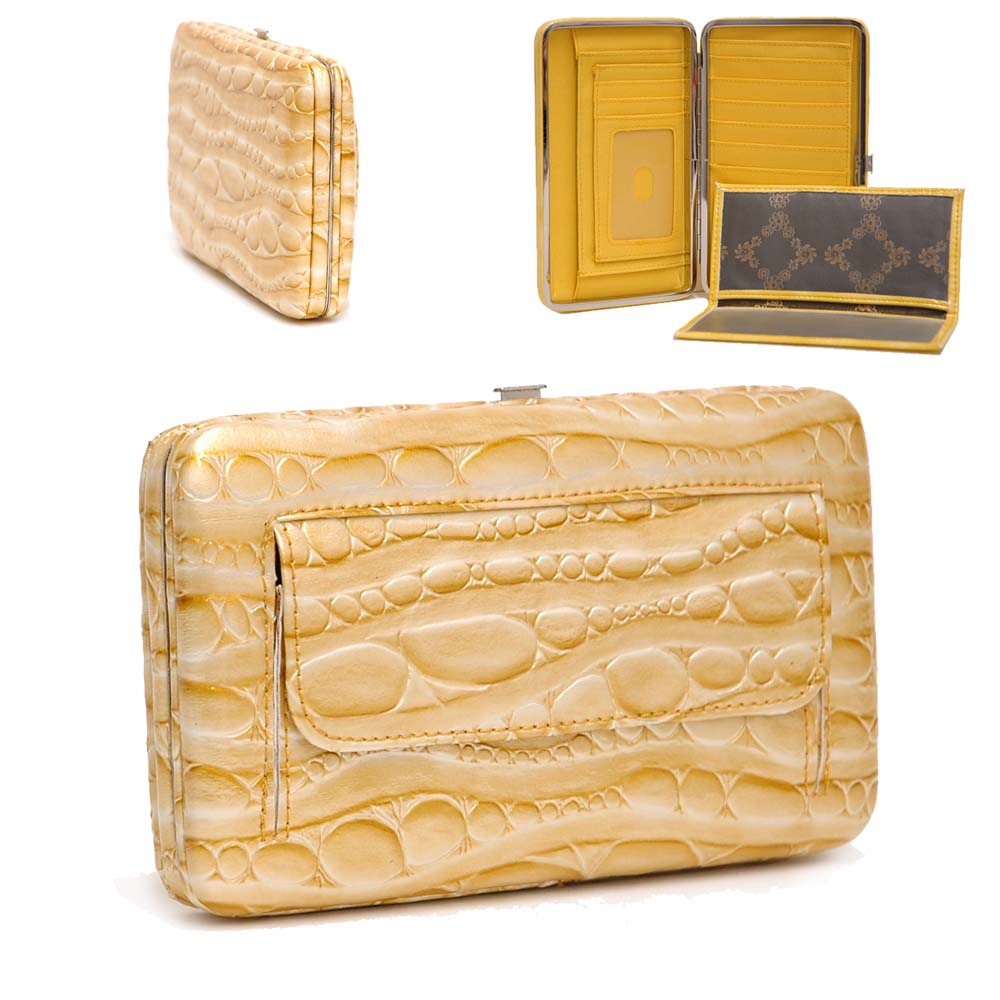 Country Road Alligator Skin Embossed Extra Deep Metal Checkbook Frame Wallet - Yellow