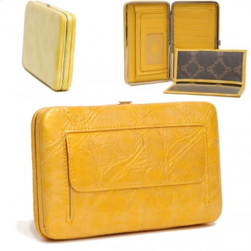 County Road Textured Extra Deep Metal Frame Wallet-Yellow