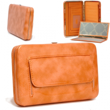 Country Road Textured Extra Deep Metal Frame Wallet-Orange